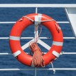 Royalty-Free Stock Photo: Life buoy on ferry crossing the mediterranean sea to Santorini island, Greece