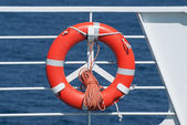 Life buoy on ferry crossing the mediterranean sea to Santorini island, Greece — Stock Photo