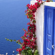 Traditional greek door on Santorini island, Greece — Stock Photo