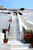 Close up of traditional village of Thira at Santorini island in — Stock Photo