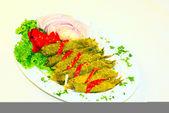 Dolmadakia, folhas de videira recheadas com arroz — Fotografia Stock