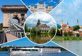 Insieme di luoghi storici nella città di budapest, Ungheria — Foto Stock