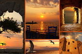 Set of summer photos at sunset in Santorini island, Greece — Stock Photo
