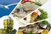Fresh fishes with lemon, parsley and spice of Aegean sea — Stock Photo