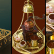 Collage of traditional greek coffee — Stock Photo