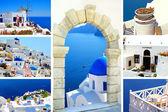 Collage of summer photos in Santorini island, Greece — Stock Photo