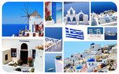 Koláž z fotografií v létě v santorini island, řecko — Stock fotografie