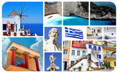Collage of famous places in Greece — Stock Photo