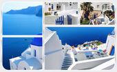 在希腊圣托里尼岛的夏天照片拼贴画 — 图库照片