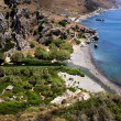 Secluded Preveli Beach and river, in Southern Crete, viewed from — Stock Photo