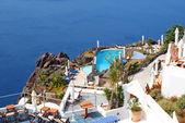 Tradycyjną architekturę miejscowości oia, na wyspie santorini, gre — Zdjęcie stockowe