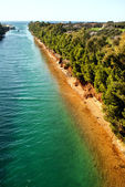 Vue aérienne du chenal maritime de potidea, chalcidique, grèce — Photo