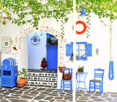 Traditional Greek tavern, on Santorini island, Greece — Stock Photo