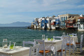Panoramic view of little Venice on Mykonos Island, Greece — Stock Photo