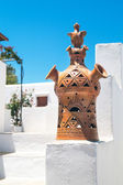 Detail of a traditional Greek chimney on Sifnos island, Greece — Stock Photo
