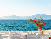 Beautiful cafeteria at the beach, on Mykonos island, Greece — Stock Photo