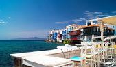 Küçük bir venedik mykonos island, yunanistan'ın panoramik manzarasını — Stok fotoğraf