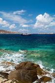 Beautiful sailboat sailing sail blue Mediterranean sea near Myko — Stock Photo