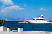 Cruise ship at Naxos port, Greece — Stock Photo
