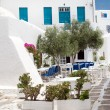 Traditional greek tavern on Sifnos island, Greece — Stock Photo