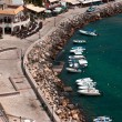 Stock Photo: Aerial photo of Parga town and port near Syvota in Greece. Ionia