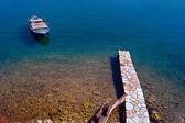 Scenic fishing port of Nafpaktos city in Greece — Stock Photo