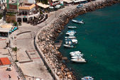Aerial photo of Parga town and port near Syvota in Greece. Ionia — Stock Photo