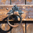 Old rusty gate latch on the door — Stock Photo