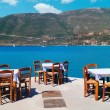 Traditional Greek tavern at the beach in Greece — Stock Photo