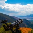 Telescope on tripod located in Delphi, Greece — Stock Photo