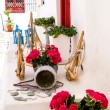 Detail image from a greek touristic shop on Mykonos island, Gree — Stock Photo #38599639