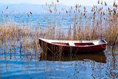 Traditional fishing boat at Doirani lake, Greece — Stock Photo