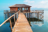 Wooden cottage lake settlement, Greece — Stock Photo