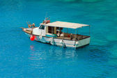 Greek fishing boat at Cyclades islands — Stock Photo