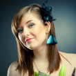 Beautiful girl with butterfly — Stock Photo #10241701
