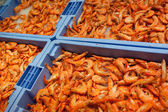 Syrové krevety na zásobníky — Stock fotografie