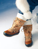 Winter shoes in snow, close-up — Stock Photo