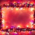 Christmas lights frame — Stock Photo