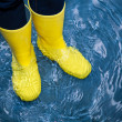 Rubber boots in the water — Stock Photo