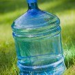 Water bottle on green lawn background — Stock Photo