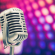 Retro microphone on purple disco background — Foto de Stock