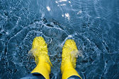 Rubber boots splashing in the water — Stock Photo