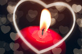 Candle with heart — Stock Photo