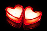 Two candle hearts — Stock Photo