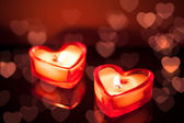 Vela corazones ardientes — Foto de Stock