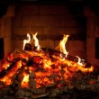 Burning fire in the fireplace — Stock Photo