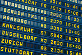 Departure - arrival information flight board at the airport — Stock Photo