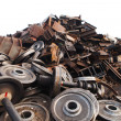 Recycled train wheels — Stock Photo