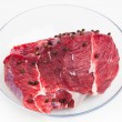 Fresh raw meat, white background — Stock Photo