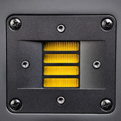 Yellow tweeter - high-frequency loudspeaker, closeup — Stock Photo